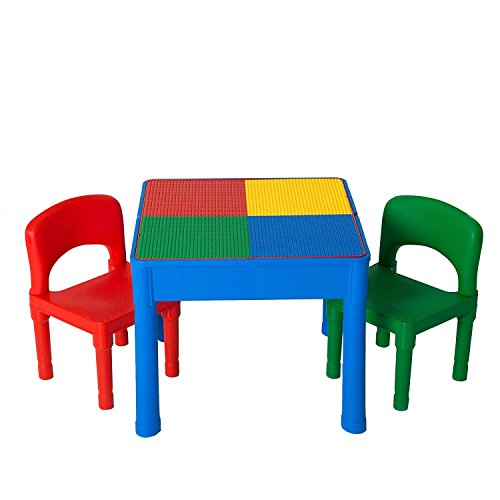 Play Platoon Kids Activity Table Set - 3 in 1 Water Table, Craft Table Building Brick Table Storage - Includes 2 Chairs 25 Jumbo Bricks - Primary Colors by Play Platoon (Image #8)