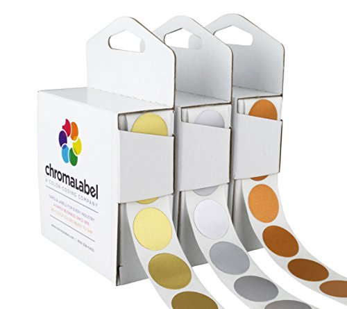 ChromaLabel Metallic Color-Code Dot Label Kit | Assorted Gold, Silver, Bronze | 1,000/Dispenser Box (3/4 inch)