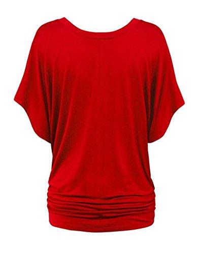 NiSeng Mujeres Colores Sólidos V-cuello Shirt Batwing Manga Corta Camiseta De Suelta Blusa Casual Rojo