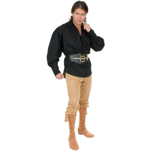 Barrel Man Costume (Unisex Buccaneer Pirate Shirt Adult Costume Accessory Black - Medium)