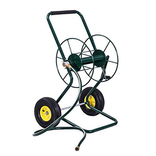 Goplus Garden Hose Reel Cart Water Hose Holder Steel Frame for Planting (2 Wheel Hose Reel)