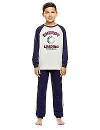 Boys 2 Piece Pajama Set - Long Sleeve Print Sleep Tee & Jogger Pants