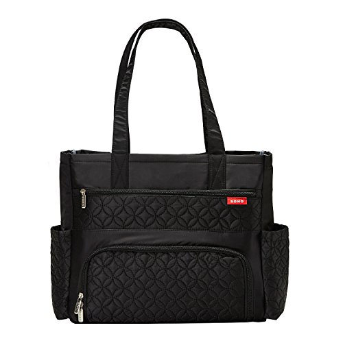 SoHo diaper bag Williamsburg 6 pieces set nappy tote bag for baby mom dad stylish insulated unisex multifunction travel large capacity durable includes changing pad stroller straps Classic Black