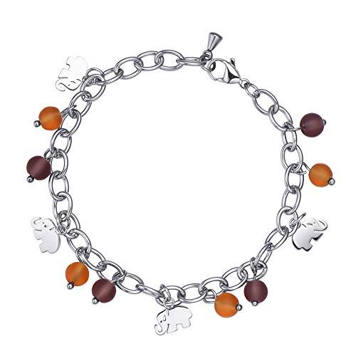 Elephant Charm Glass (MEGIDESI Festival Charms Bracelet Gift for Girls and Women, with Purple and Orange Color Glass Beads and Elephant Charms)