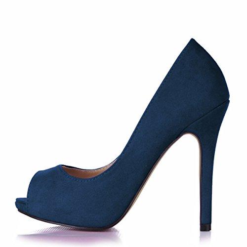Haga clic en las mujeres caen en una tierra roja temperamento y discotecas grandes rojo negro satinado de alta Heel Shoes punta pescado Dark Blue