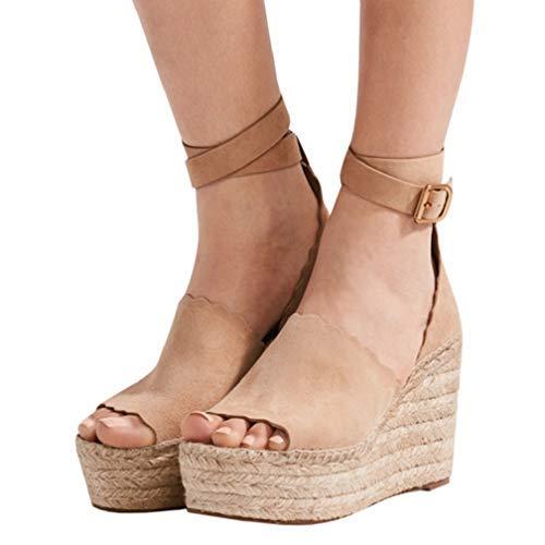Seraih Womens High Heel Platform Espadrille Wedges with Ankle Strap Buckle Khaki
