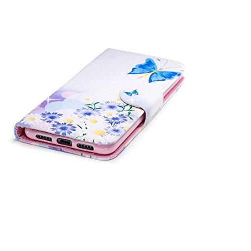 cas cuir Huawei protection support conception portefeuille Pro pour Flip fente Hozor magnétique en P20 PU avec Blue peint fermeture étui avec carte butterfly de d'impression aérosol en dtwqx7x