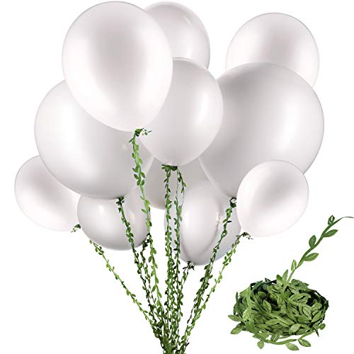 58 Pieces White Balloons 12 inch 18 inch 36 inch White Latex Round Balloons with 65 Feet Long Artificial Vines for Wedding Birthday Party Decorations (White - Pearl Green White