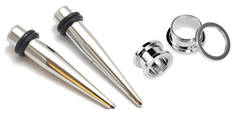 Zaya Body Jewelry Pair of 316l Stainless Steel Tapers and Screw Tunnels Ear Stretching Kit Gauges Plugs 00g 0g 1g 2g 4g 6g 8g 10g 12g (1g 7mm)