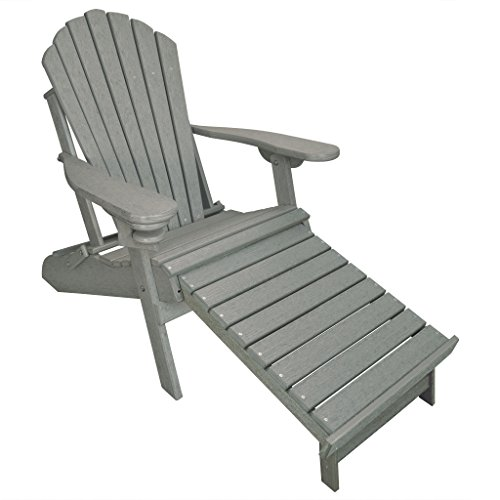 ECCB Outdoor Outer Banks Deluxe Oversized Poly Lumber Folding Adirondack Chair with Integrated Footrest (Driftwood Gray) ...