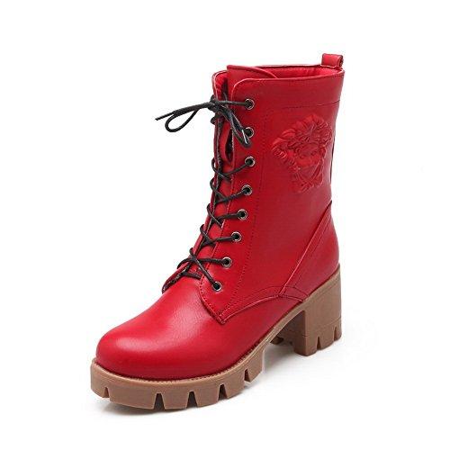 Girls Bandage Square Heels Platform Imitated Leather Boots