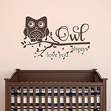 Wall Decal Decor Owl Always Love You Wall Decal Quote- Owl Wall Murals Nursery Wall Decal Kids Room Vinyl Wall Decal Sticker(brown, 14