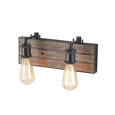 """LOG BARN 2 Lights Bathroom Vanity Light in Real Antique Wood and Dark Brown Metal Finish, 13.8"""" Wall Sconce, A03332 -  [FARMHOUSE BATHROOM LIGHTING] - Simple pipe-shaped wooden bathroom sconce, especially designed to illuminate the heart of your vanity, bathroom or farmhouse styled places. Crafted of dark brown metal socket in a handsome painting finish, this design features 2 water-drop-inspired glass shades dropping from a real rustic wooden back plate pipe-shaped base.  [FREE SIMPLE INSTALLATION] - The rustic vanity light package includes all the necessary assembling and installation parts along with clearly marked cords. Having a previous experience and some electrical knowledge should be enough to qualify you for doing the installation by yourself instead of hiring an electrician and spending more money.  [UL LISTED FOR DAMP LOCATION] - UL listed, safety listing demonstrates this product has met minimum requirements of widely accepted product safety standards. - bathroom-lights, bathroom-fixtures-hardware, bathroom - 41vxOpPASjL. SS400  -"""