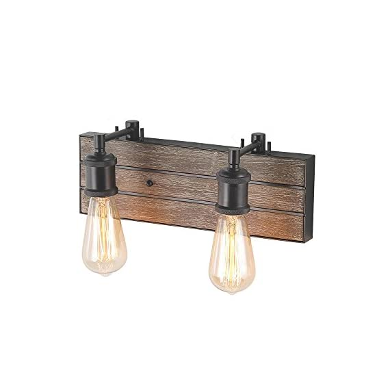 "LOG BARN Bathroom Rustic Sconce in Wood and Metal Finish, 13.8"" Farmhouse Fixture, Vanity Wall Lights - 💡 [FARMHOUSE BATHROOM LIGHTING] - Simple pipe-shaped wooden bathroom sconce, especially designed to illuminate the heart of your vanity, bathroom or farmhouse styled places. Crafted of dark brown metal socket in a handsome painting finish, this design features 2 water-drop-inspired glass shades dropping from a real rustic wooden back plate pipe-shaped base. 💡 [FREE SIMPLE INSTALLATION] - The rustic vanity light package includes all the necessary assembling and installation parts along with clearly marked cords. Having a previous experience and some electrical knowledge should be enough to qualify you for doing the installation by yourself instead of hiring an electrician and spending more money. 💡 [UL LISTED FOR DAMP LOCATION] - UL listed, safety listing demonstrates this product has met minimum requirements of widely accepted product safety standards. - bathroom-lights, bathroom-fixtures-hardware, bathroom - 41vxOpPASjL. SS570  -"