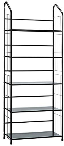 unbrand FT-597BK-5 Black 5 Tier Metal Bookshelf Rack,