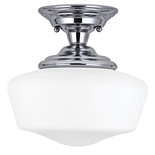 Sea Gull Lighting 77436-05 Academy One-Light Semi-Flush Mount Ceiling Light with Satin White Glass, Chrome Finish (Pan Semi Flush)