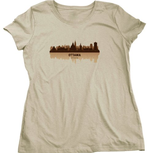 Ottawa, Canada City Skyline Ladies Cut T-shirt Tan Ontario Pride Tee