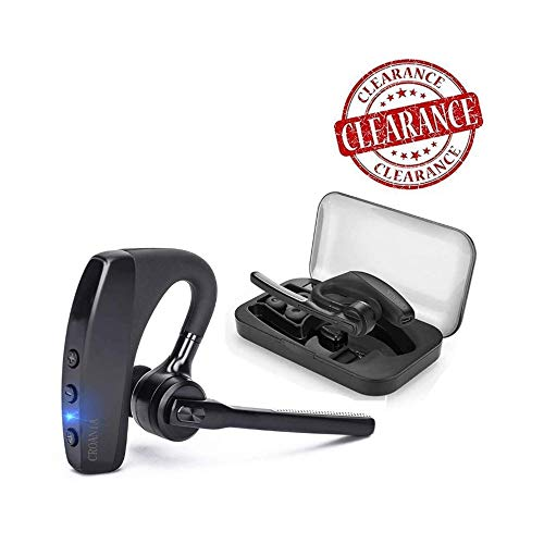 Bluetooth Headset, Wireless Bluetooth Earpiece Headphones Earbuds Ear Hooks Earphones with Noise Cancelling Mic and Carrying Case for Business/Office/Driving/Truck Support iPhone/Android ()