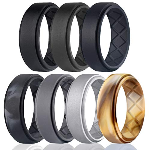 (Egnaro Silicone Wedding Ring for Men, Breathable Mens' Rubber Wedding Bands, Size 8 9 10 11 12 13, for Crossfit Workout)