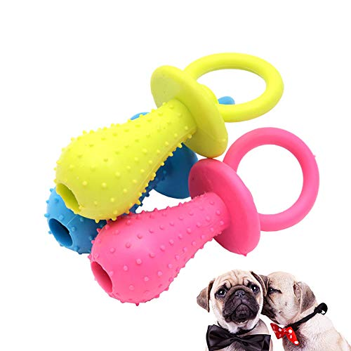 Luck Dawn Rubber Chew Toy for Dog – Nipple Shape Bite Resistant Teeth Cleaning Toys with Small Bell