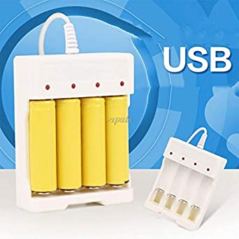 1.2V AA//AAA Universal White USB 4 Slots Intelligent Rechargeable Battery Charger