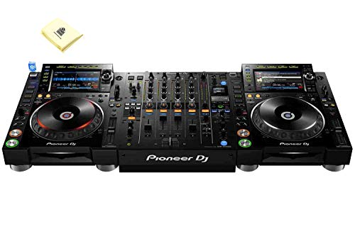 "Pioneer DJ CDJ-3000 Professional DJ Multi Player (Pair) with 9"" Multicolor Touchscreen & Complete Rekordbox Integration Bundle with DJM-900NXS2 4 Channel Professional DJ Mixer and Zorro Cloth"