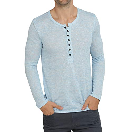 WULFUL Men's Casual Slim Fit Henley Shirt Lightweight Long Sleeve Summer T-Shirt Sky Blue ()