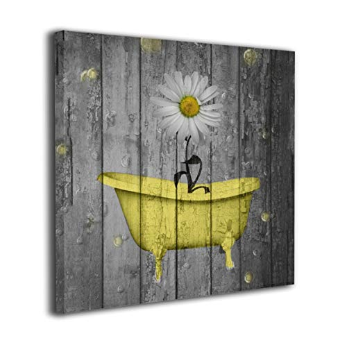 Okoart Canvas Wall Art Prints Yellow Gray Daisy Flower Bubbles Rustic Farmhouse -Photo Paintings Modern Decorative Giclee Artwork Wall Decor-Wood Frame Gallery Stretched (Bathroom Art Wall Yellow)