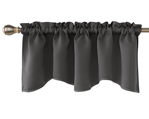 Deconovo Dark Grey Scalloped Valance for Basement Rod Pocket Blackout Valance Curtains 42x18 Inch 1 Panel