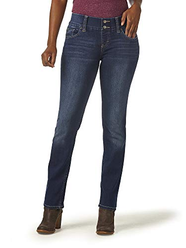 Riders by Lee Indigo Women's Pull-On Waist Smoother Straight-Leg Jean,Polar Drift,14