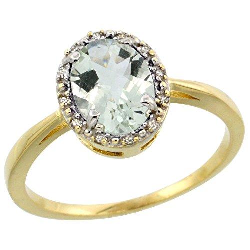 10k Yellow Gold Diamond Halo Genuine Green Amethyst Ring Oval 8x6 mm size 9.5 -