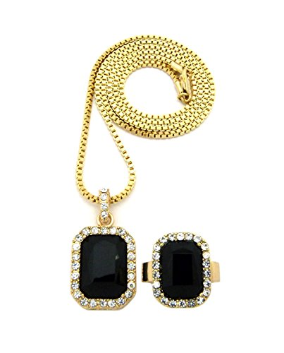 - Rhinestone Studded Faux Onyx Stone Necklace and Ring Size 10 Set in Gold-Tone