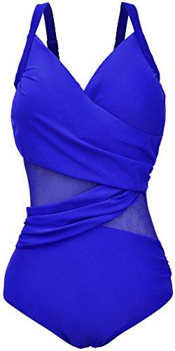 Imilan Women's Inspired Mesh Bathing Suit One Piece Monikinis Swimsuits ((US 10-12) XXL, Royal) Blue Swimsuit