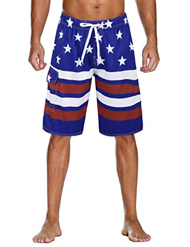 Unitop Men's Surfing Beach Board Shorts Solid Long Swim Trunks Shy Blue&Red-34 ()