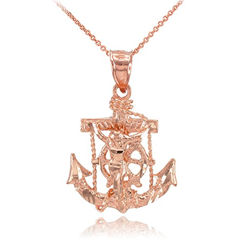 Gold Anchor Crucifix (10k Rose Gold Mariner's Cross with Crucifix Pendant Necklace, 18