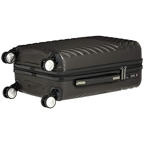 AmazonBasics Geometric Hard Shell Carry-On Rolling Spinner Suitcase Luggage - 20 Inch, Black