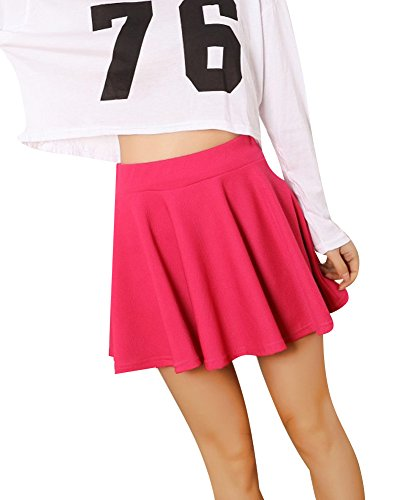Minetom Femme Casual t Couleur Pure Fille Mini Jupe Stretch Plisse Court Rose