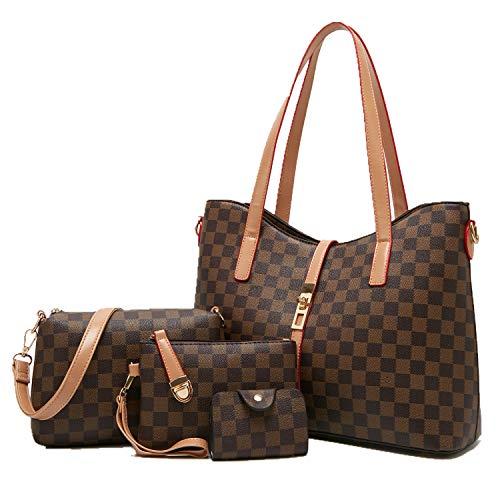 YTL Women Fashion Synthetic Leather Handbags+Shoulder Bag+Purse+Card Holder 4pcs Set Tote (large, coffee) ()