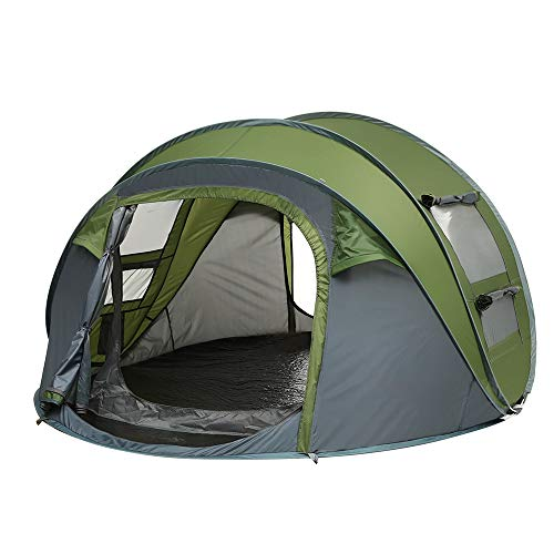 Weanas Easy Pop Up Tents, Instant Automatic 4 Person Family Camping Tents Easy Quick Setup Dome Popup Tents for Camping, Hiking and Traveling with Carrying Bag (Army Green)