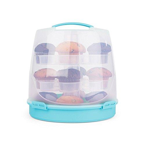 Klarstein Blaukäppchen Tortenglocke Kuchenbox Cupcake-Carrier für 24 Muffins Kuchen-Transportbox mit Tragegriff & Klippverschlüsse (Ø26 cm, 22cm Höhe, herausnehmbarer Kuchenteller) blau