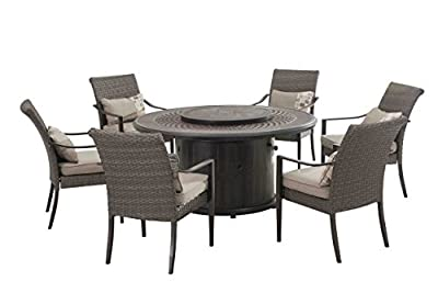 Sunjoy Simone Dining Set Made of Aluminum and Wicker With Included LP Firepit, 60 Inches by 60 Inches by 28.3 Inches