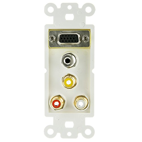 (cable Decora Wall Plate Insert with 1 VGA, 3.5mm Stereo and 3 RCA Female Couplers, Red/White/Yellow (845-301-5000))
