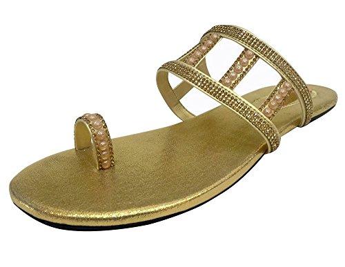 Correa Dorado Mujer Thong Sandalias T N Plana Nueva Gladiador Step Saree Style Khussa taq8Yw7