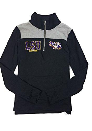 Victoria's Secret PINK LSU Tigers Quarter Zip Sweatshirt Bling Graphics (X-Small)