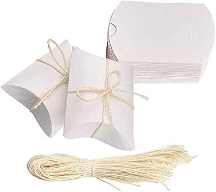 Amajoy Paquete de 50 Pequeñas cajas de almohadas de papel blancas Bolsas de dulces para el favor de la boda Regalos para el favor del partido con 50pc Twine blanco: Amazon.es: Oficina