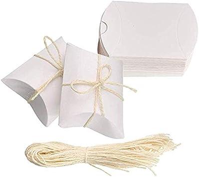 Amajoy Paquete de 50 Pequeñas cajas de almohadas de papel blancas Bolsas de dulces para el favor de la boda Regalos para el favor del partido con 50pc Twine blanco