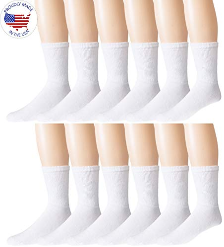 Men's Diabetic Socks -12 Pack - White - By Zeke Size: 10-13