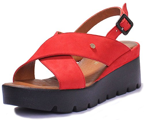 Justin Pour Sandales Red 7480 xb cd182 Reece Femme OwrqXO