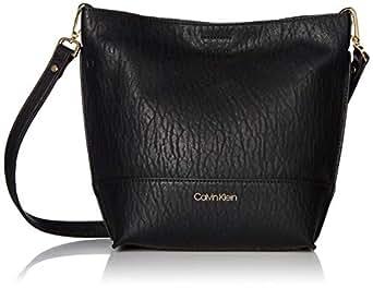 Calvin Klein womens Sonoma Bubble Lamb Novelty Key Item Bucket Crossbody Black Size: One Size