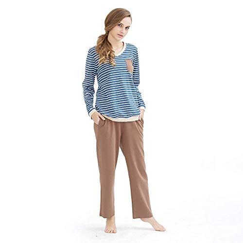 Mujer Ropa Rayado Pantalones Larga Hogar Conjunto Primavera Fashion V Bolsillos Manga Para Dormir A El Con Noche Batas Otoño De Pijama Elegante cuello rdrXwq4